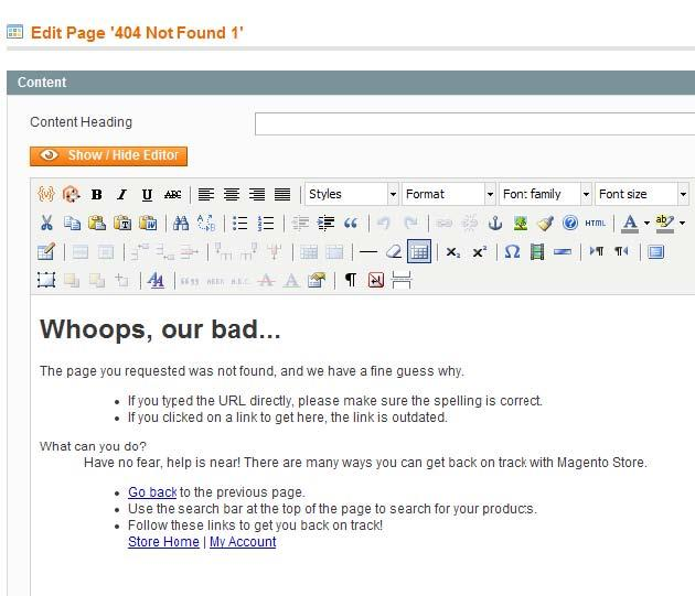 Magento 404 Page