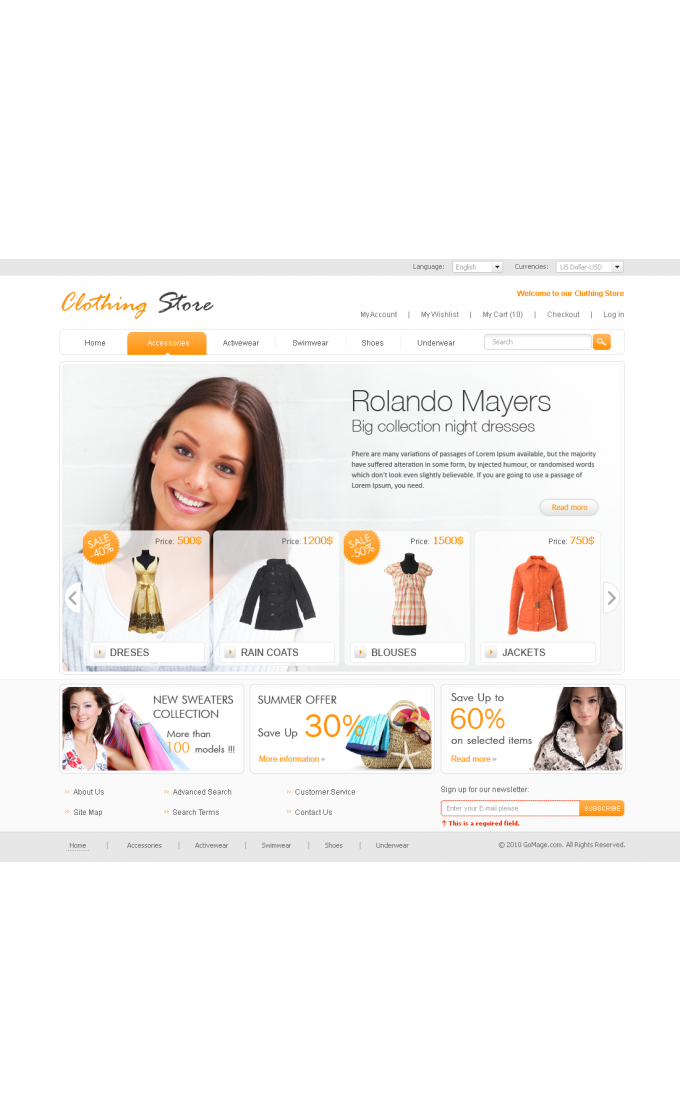 Clothing Store: Home Page