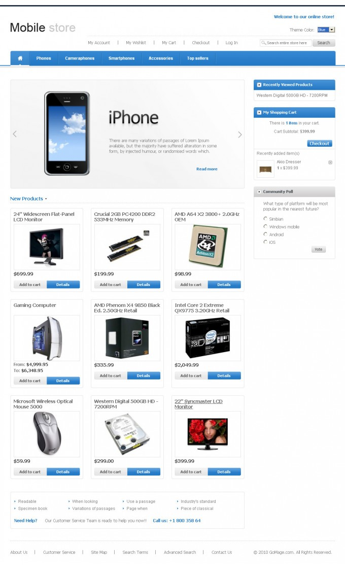 Mobile Store: Home Page