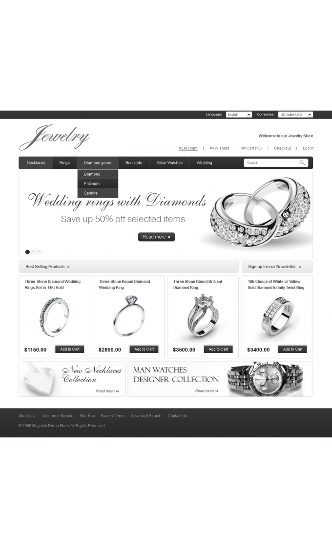Jewelry Store: Home Page