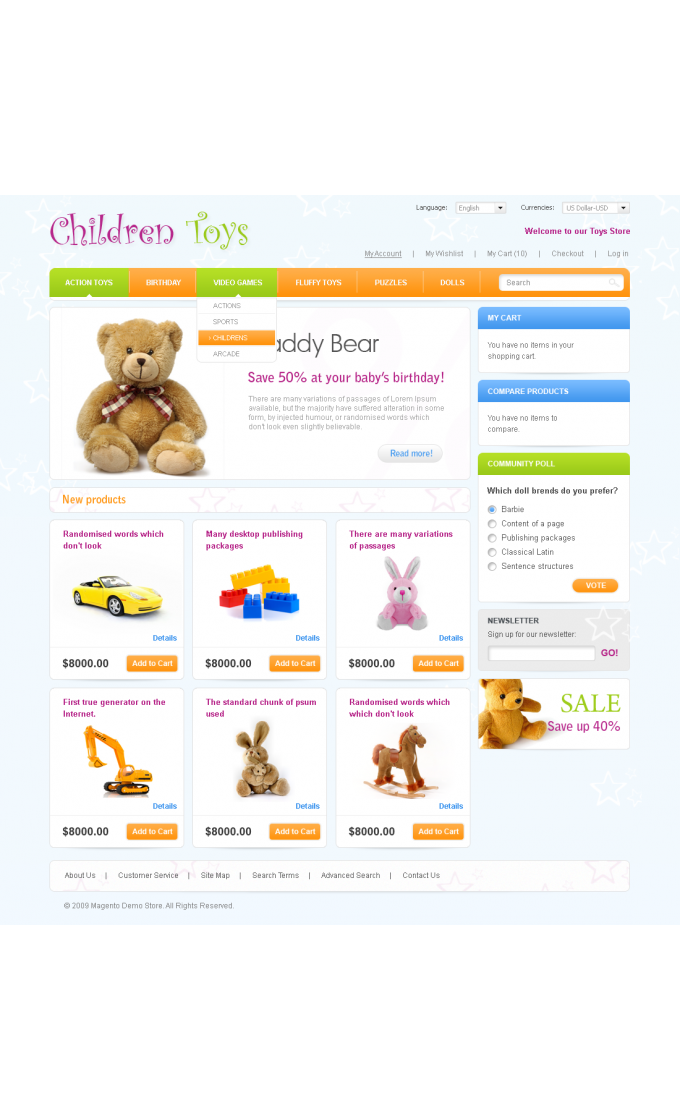 Toys Store: Home Page
