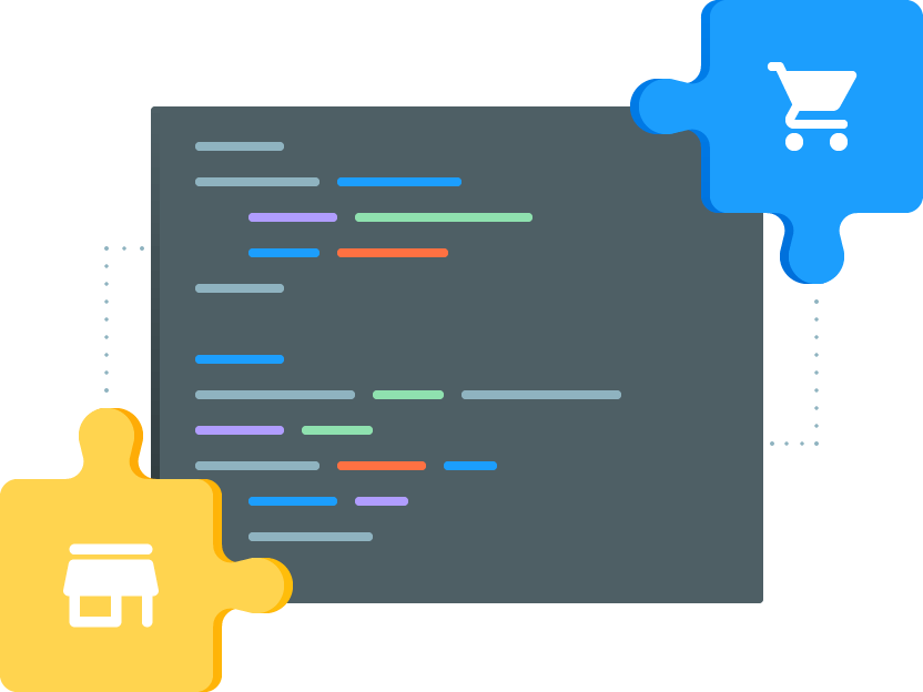 Magento 2 extension development with blue and yellow puzzles