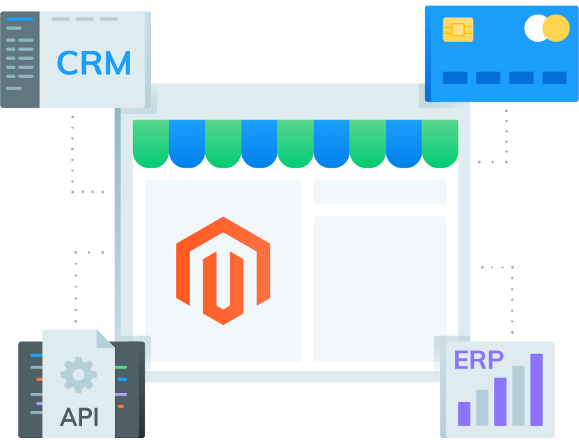 CRM, payment gateways, API configurations and ERP make up our Magento integration services