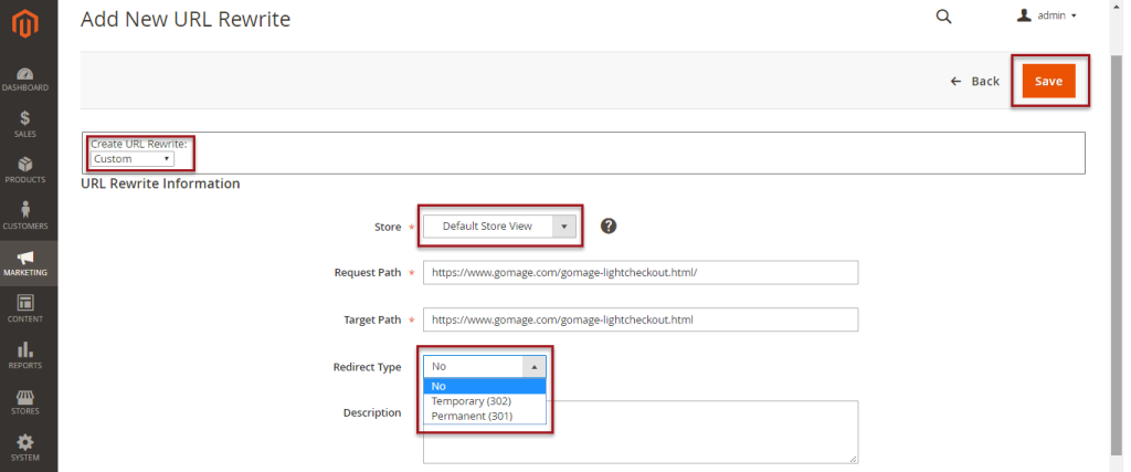 MHow to create a 301 redirect from Magento