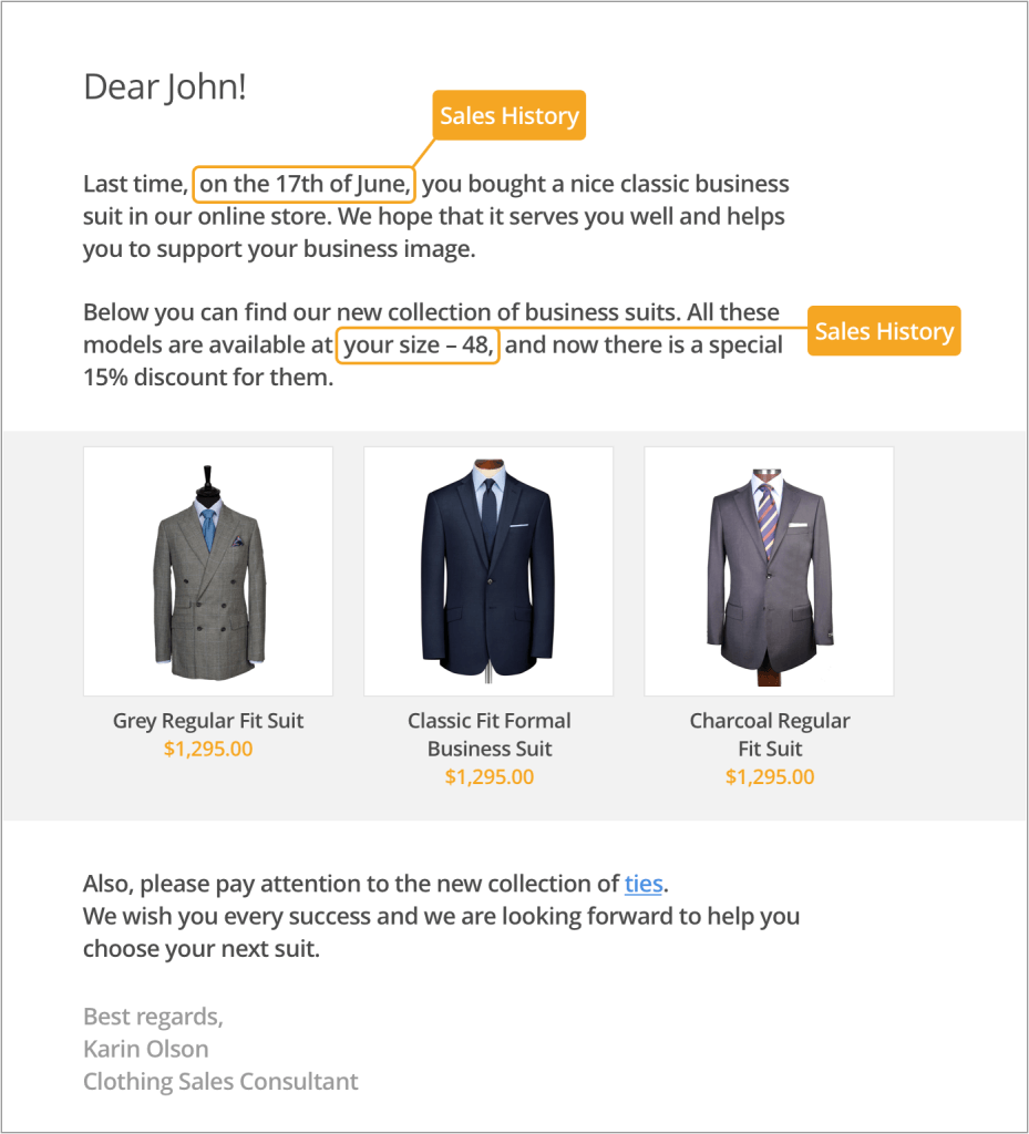 email personalization example