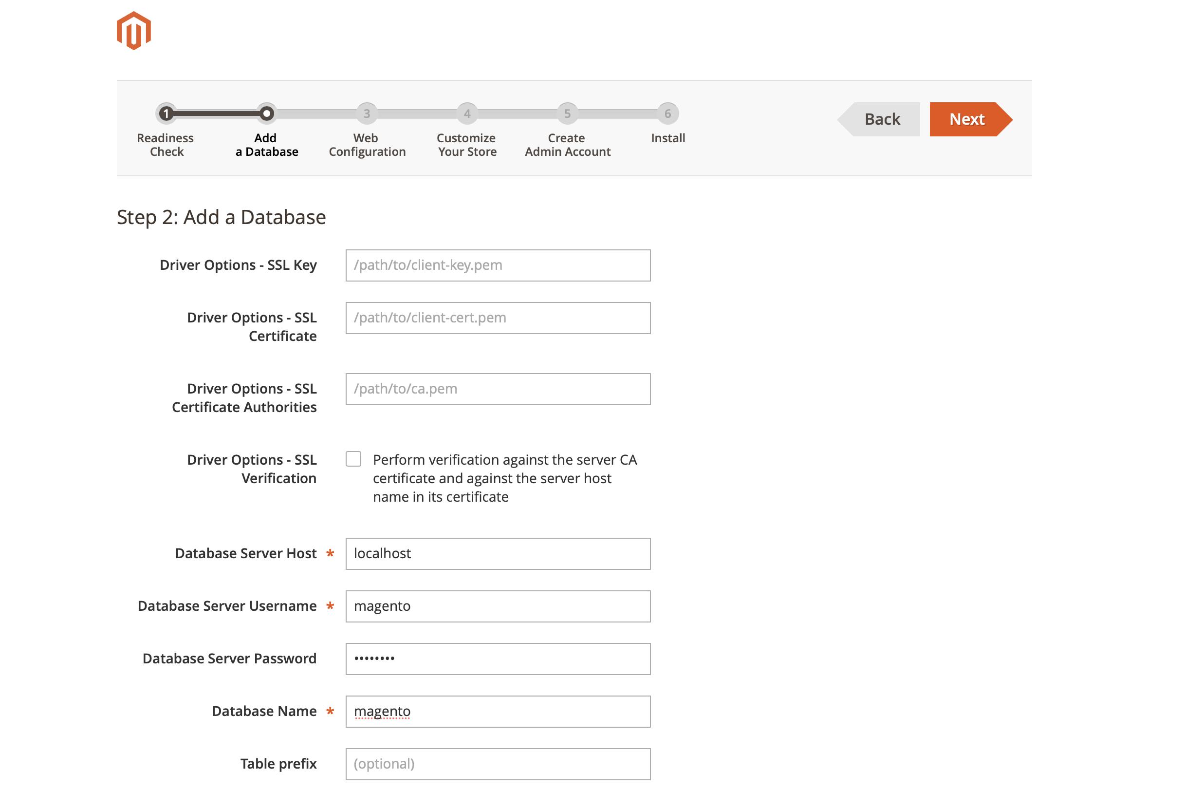 Magento Installation Wizard: Add Database