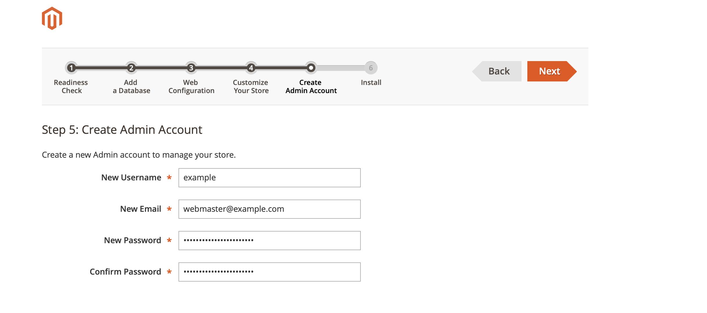 Magento Installation Wizard - Create Admin Account