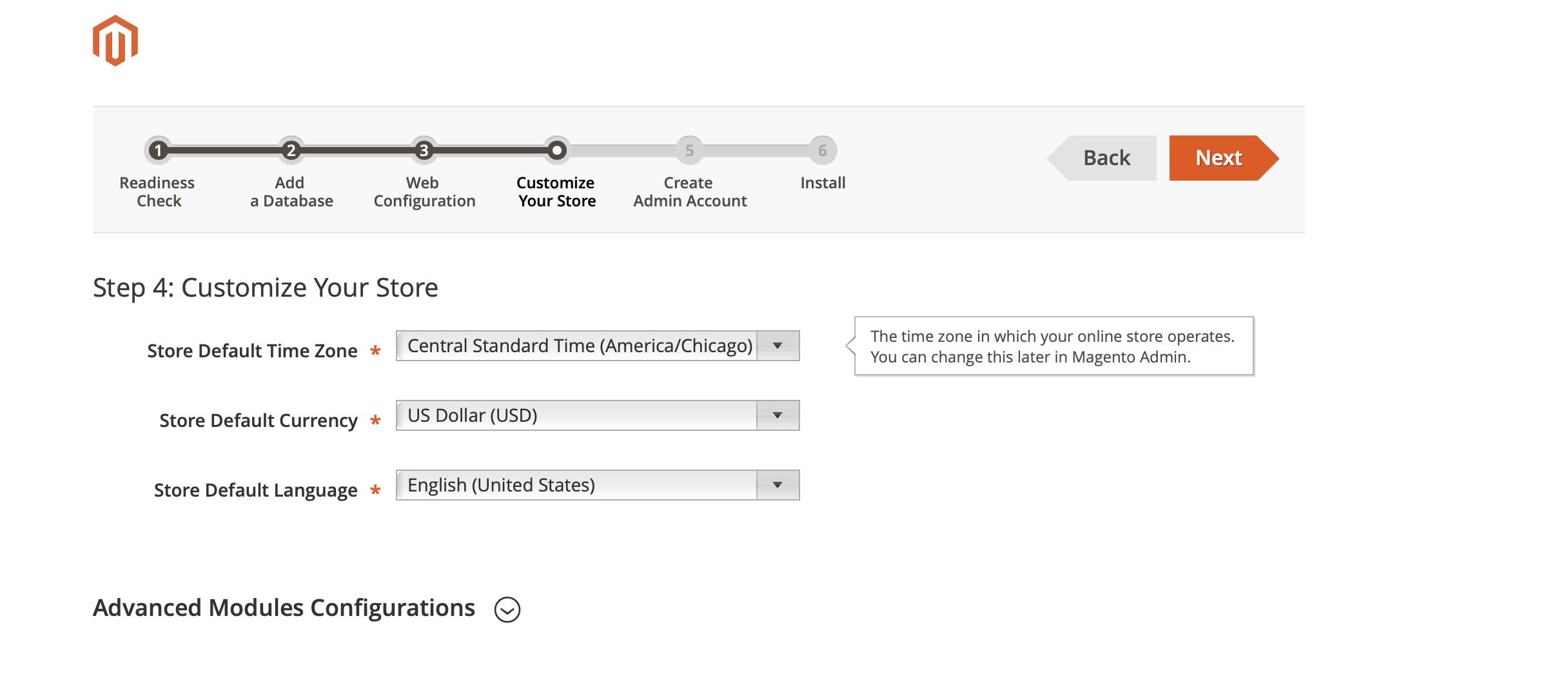 Magento Installation Wizard - Store Customization