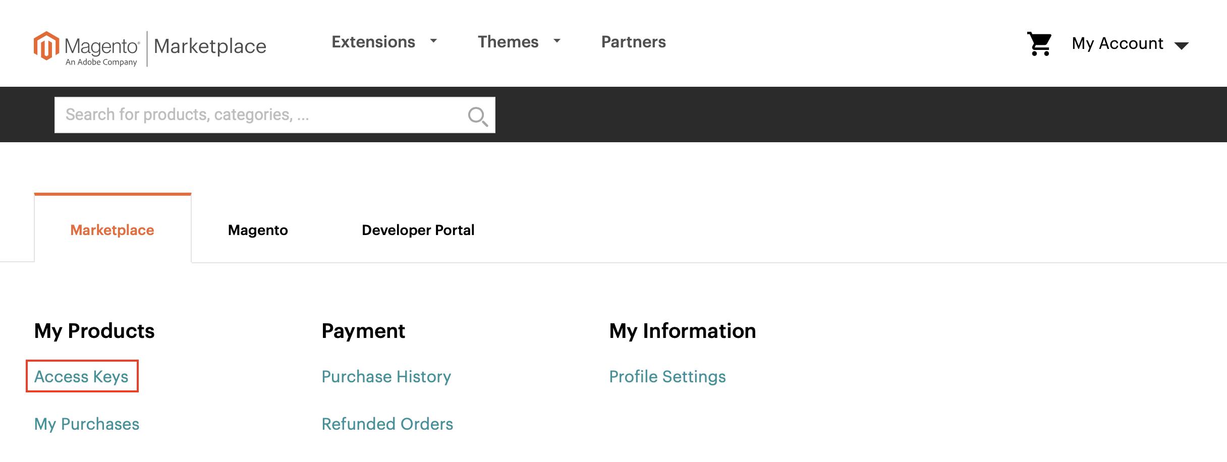 Magento Marketplace Account: Access Keys
