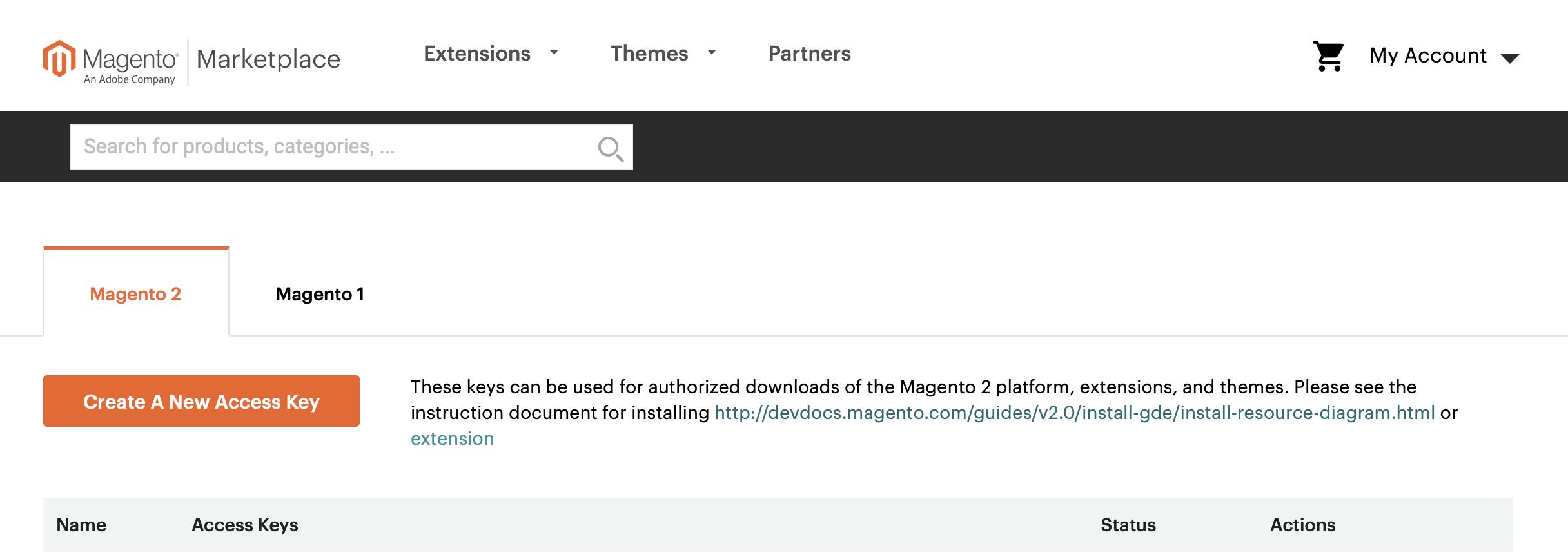 Magento Marketplace: Create A New Access Key