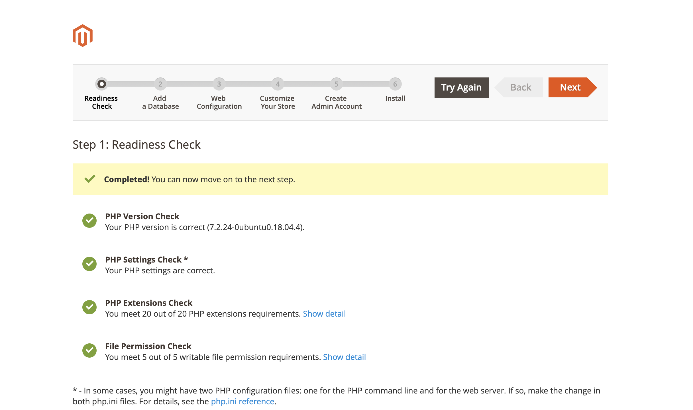 Magento Installation Wizard - Readiness Check Complete