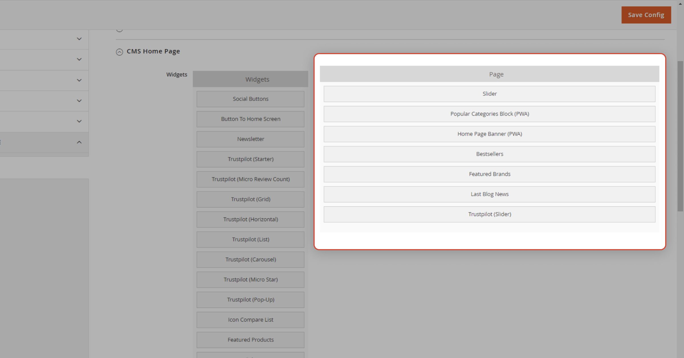 A page builder is shown in the Magento admin panel for GoMage PWA Storefront