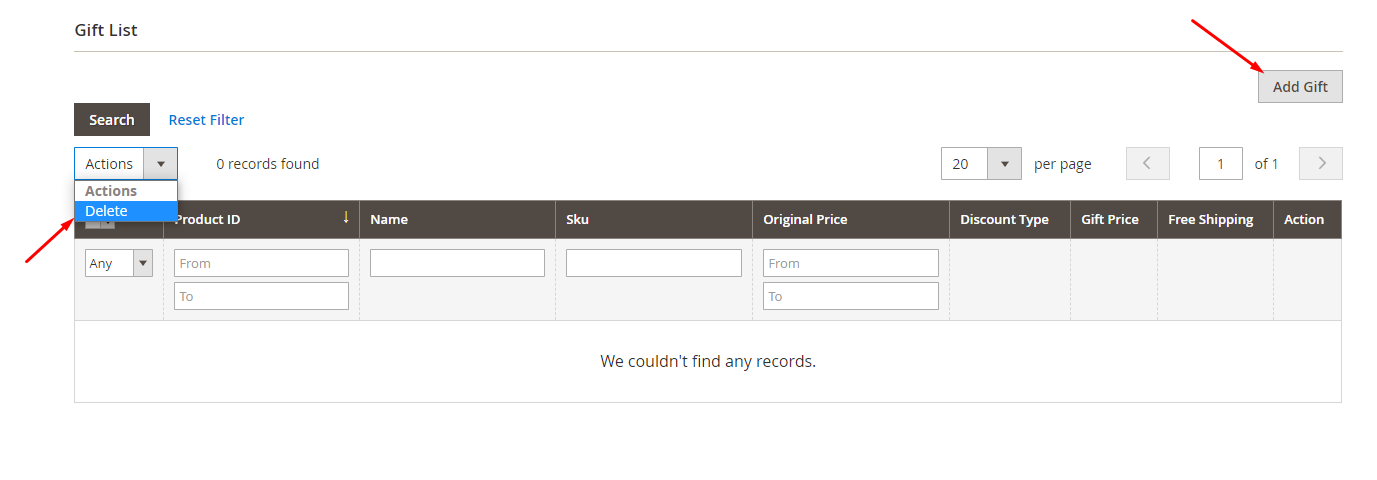 Adding gifts in the Gift List section in the Magento 2 admin panel