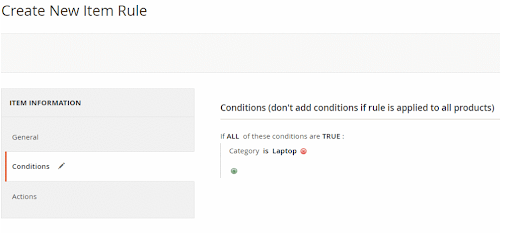 Create New Item Rule section in the Magento admin panel