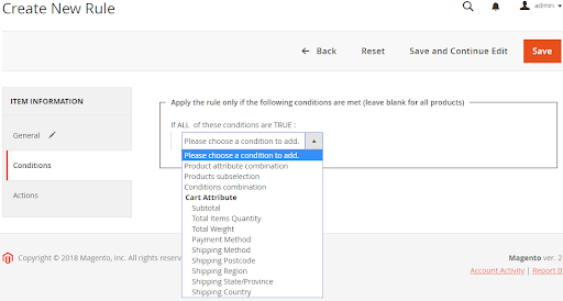 Create New Rule section in the Magento admin panel