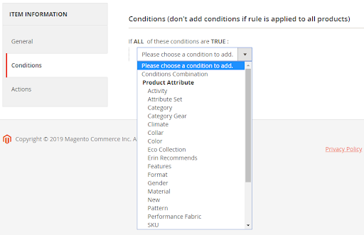 Conditions section in the Magento admin panel