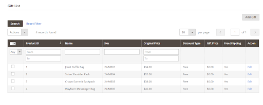 Gift List section in the Magento admin panel